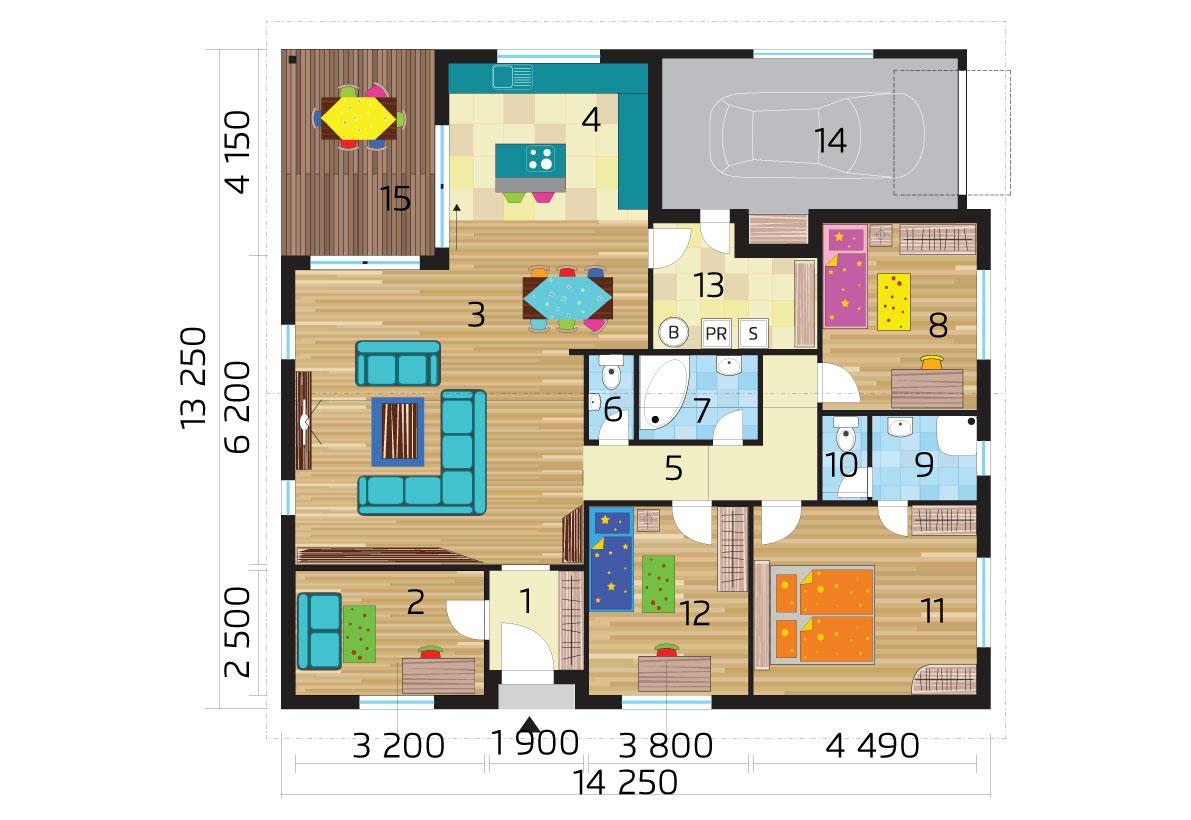 Štvorspálňový bungalov s garážou - pôdorys