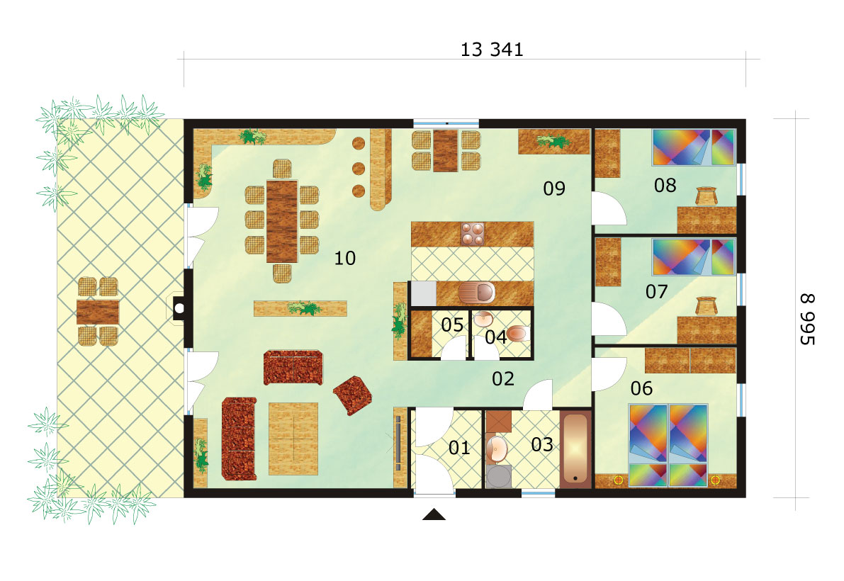 Štvorizbový bungalov v tvare obdĺžnika - č.39-podorys
