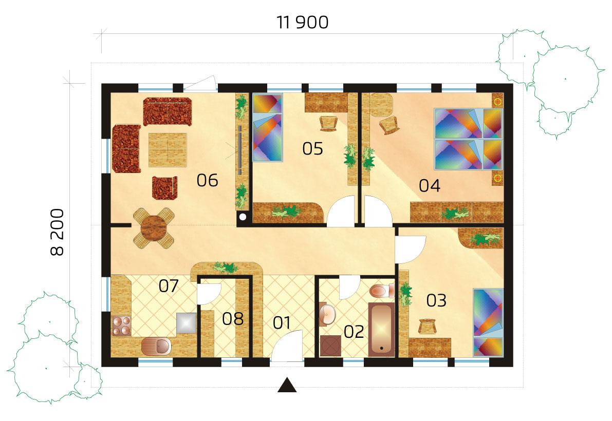 Štvorizbový montovaný rodinný dom - č.35-podorys
