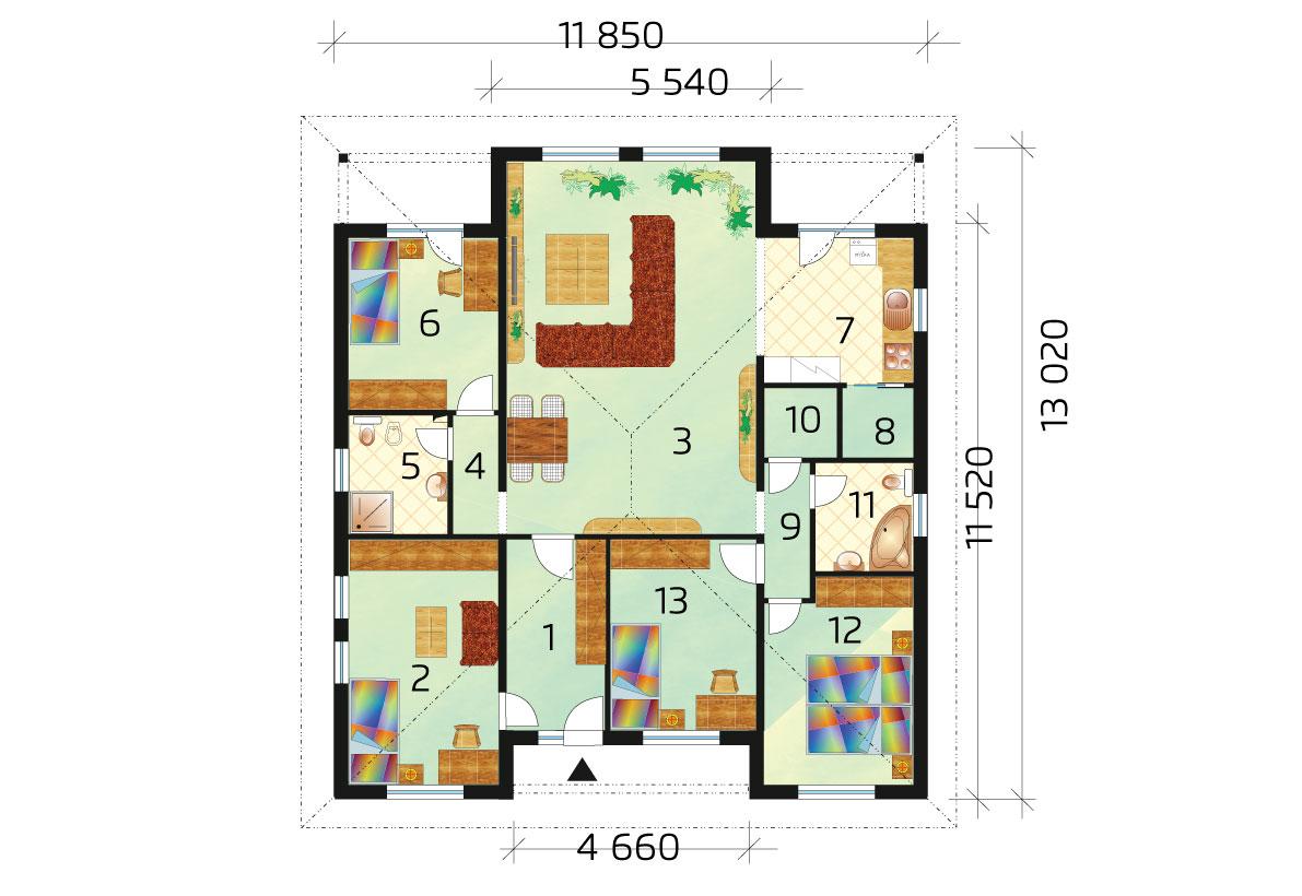 5izbový bungalov, ktorý poznáte z relácie Nové bývanie - č.40 - podorys