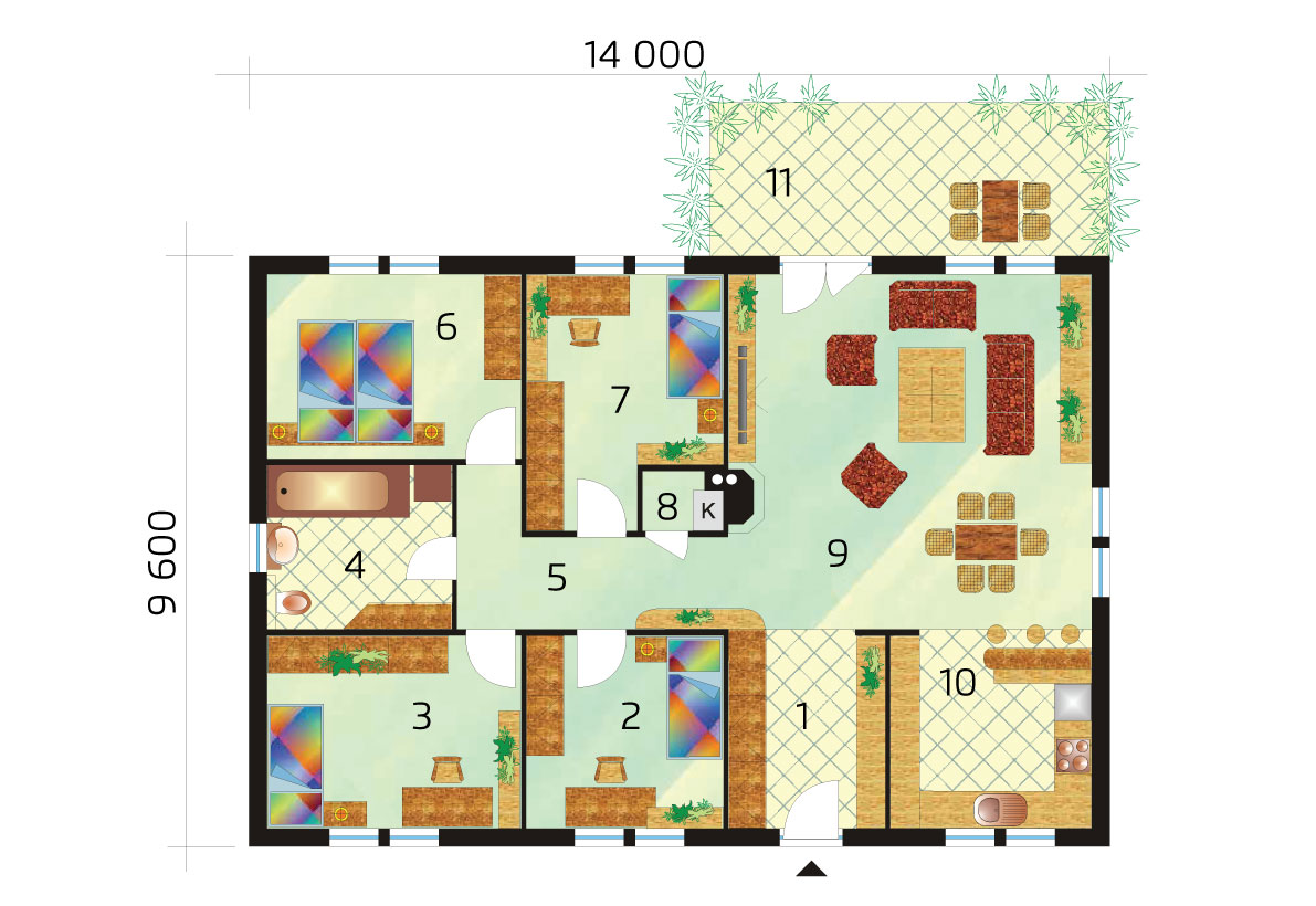 5izbový bungalov s pôdorysom v tvare obdĺžnika - č.34-podorys