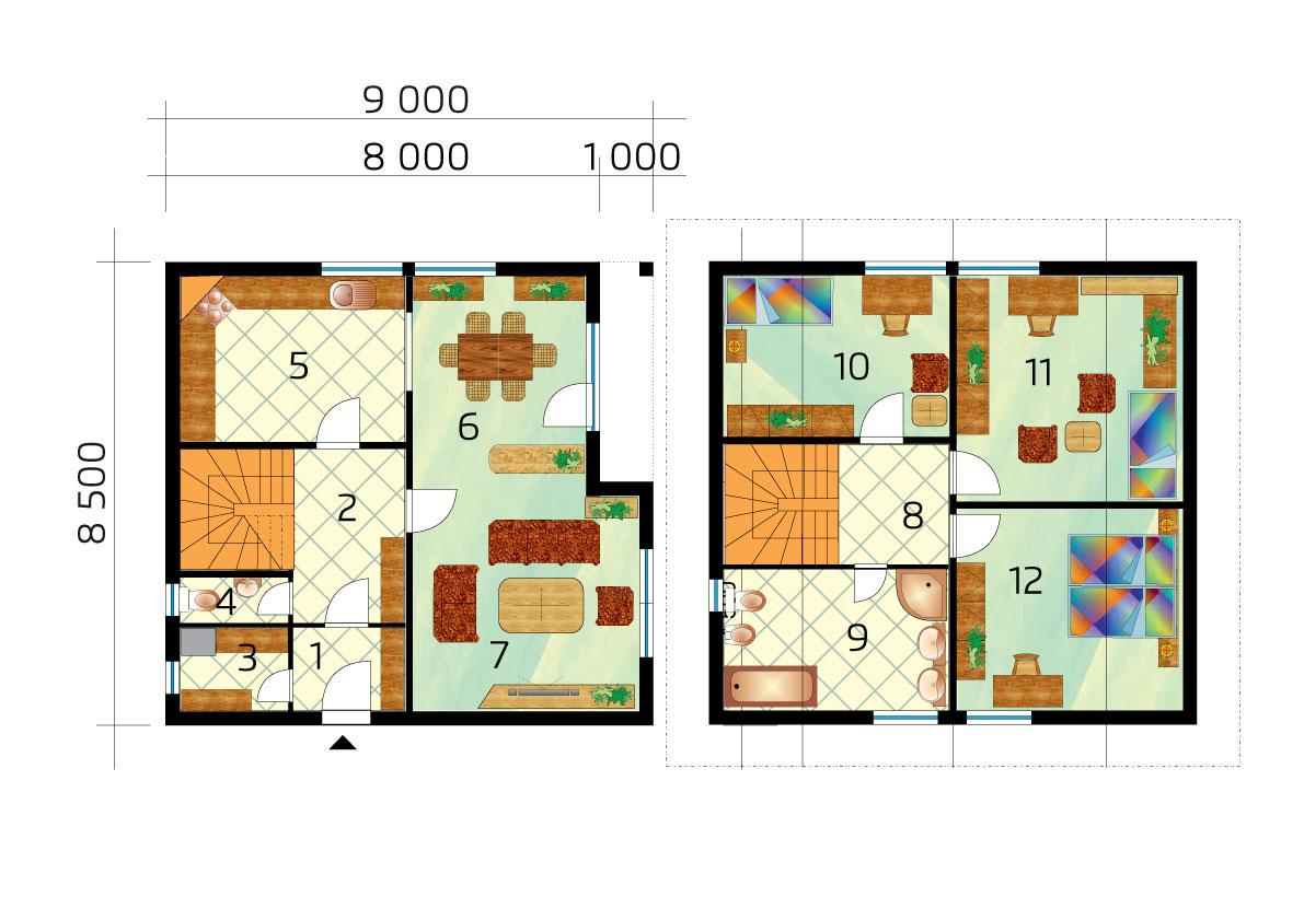 Nagy, három hálószobás, emeletes ház - 1. sz, alaprajza