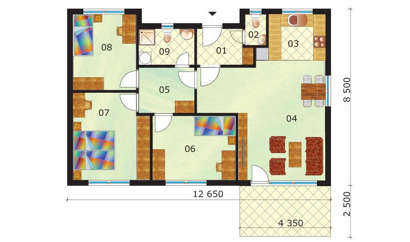 Gazdaságos, négyszobás bungaló – sz.45, alaprajz