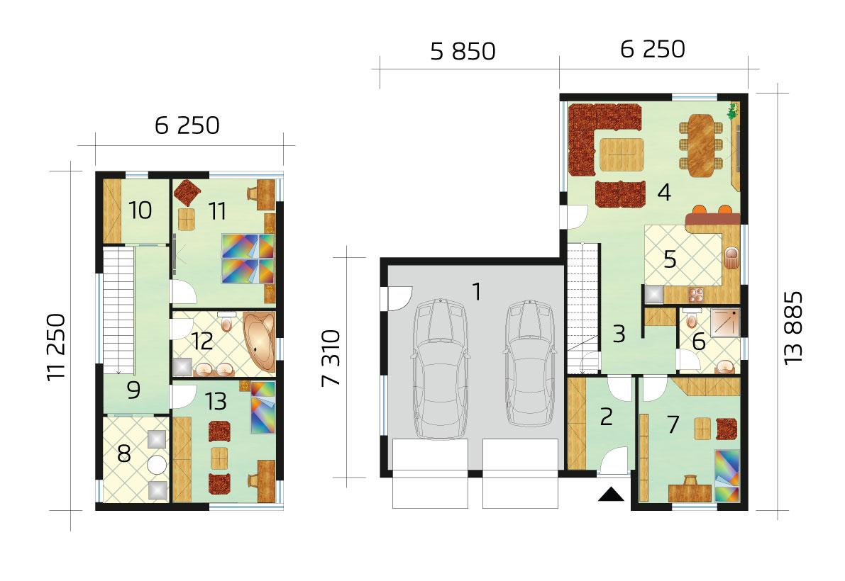 Kétszintes modern ház garázzsal - sz.50, alaprajza
