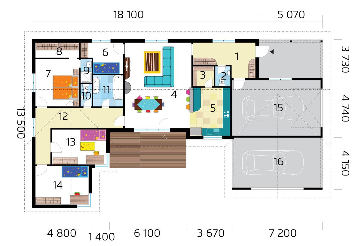 Veľký bungalov v tvare U s dvojgarážou pôdorys