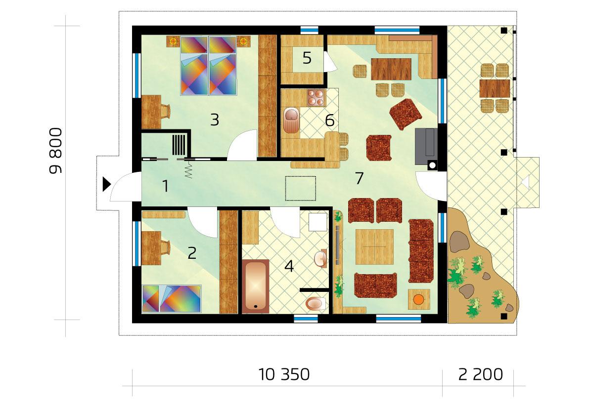 Dvojizbový bungalov štvorcového pôdorysu - č.38-podorys