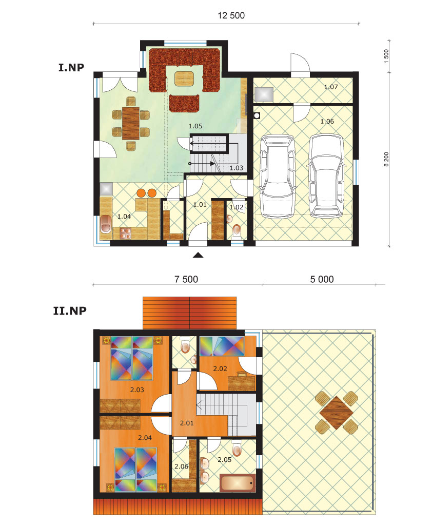Dvojpodlažný dom s dvojgarážou - č.51 podorys