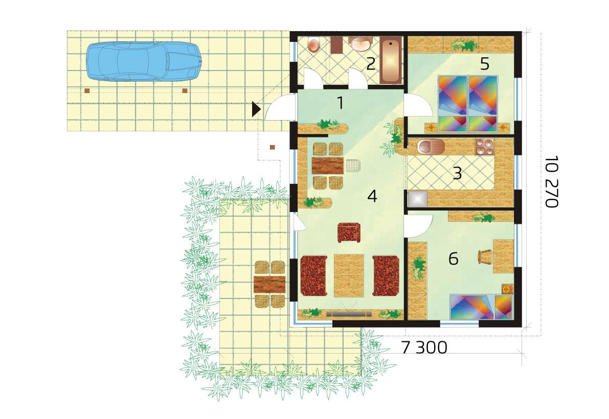 Dvojspálňový bungalov pre menšie pozemky – č.15 podorys