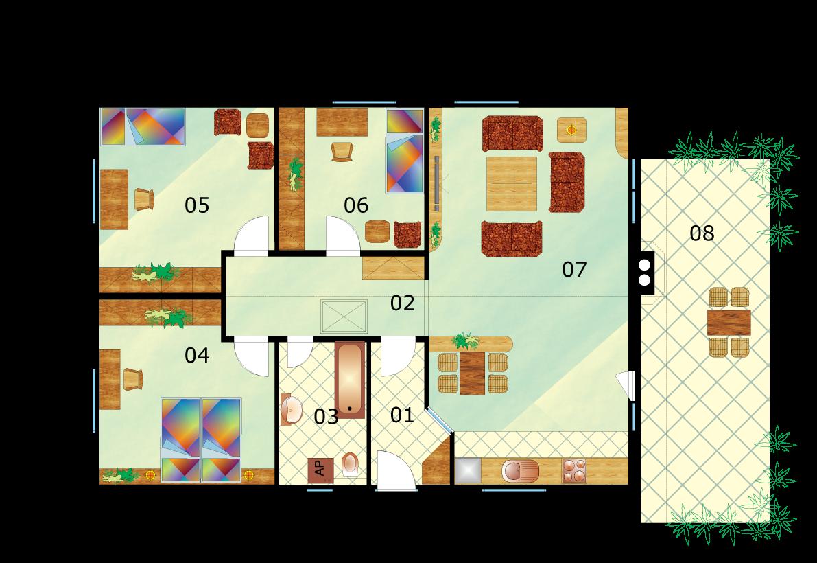 Kedvelt családi ház három hálószobával - alaprajza