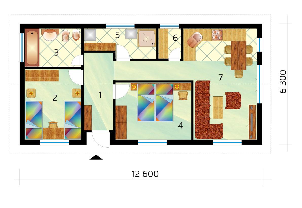Projekt úzkeho trojizbového bungalovu v tvare obdĺžnika- č.47-podorys