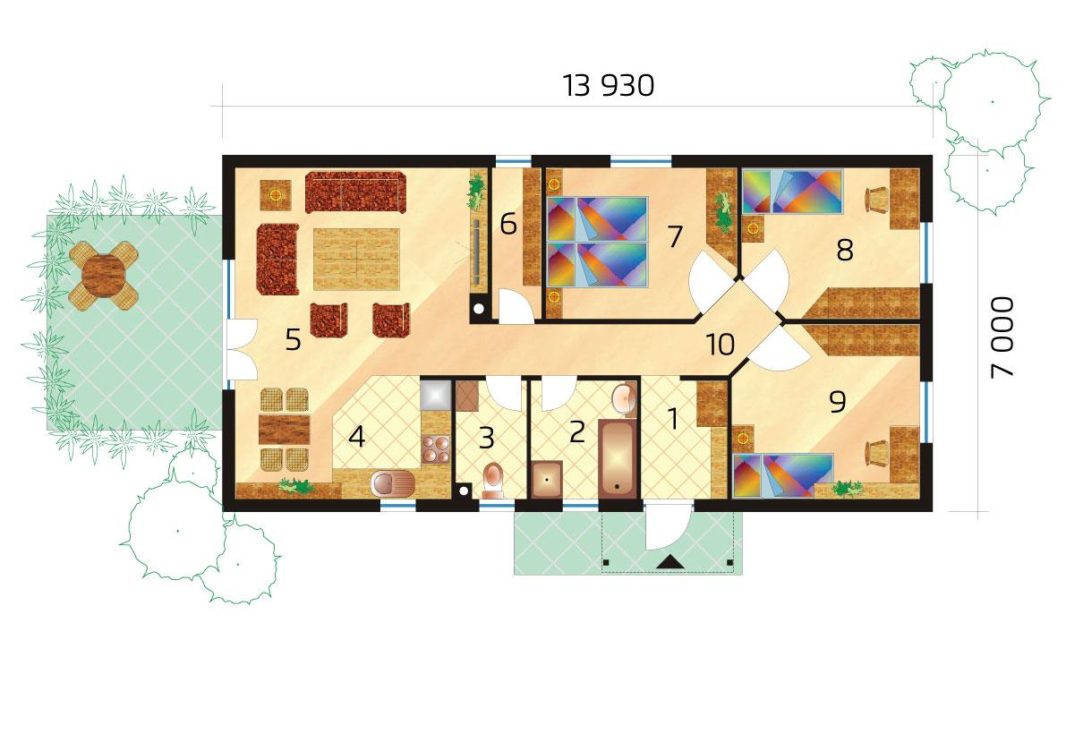 Keskeny, három hálószobás, előregyártott elemekből álló bungaló.- sz.36, alaprajza