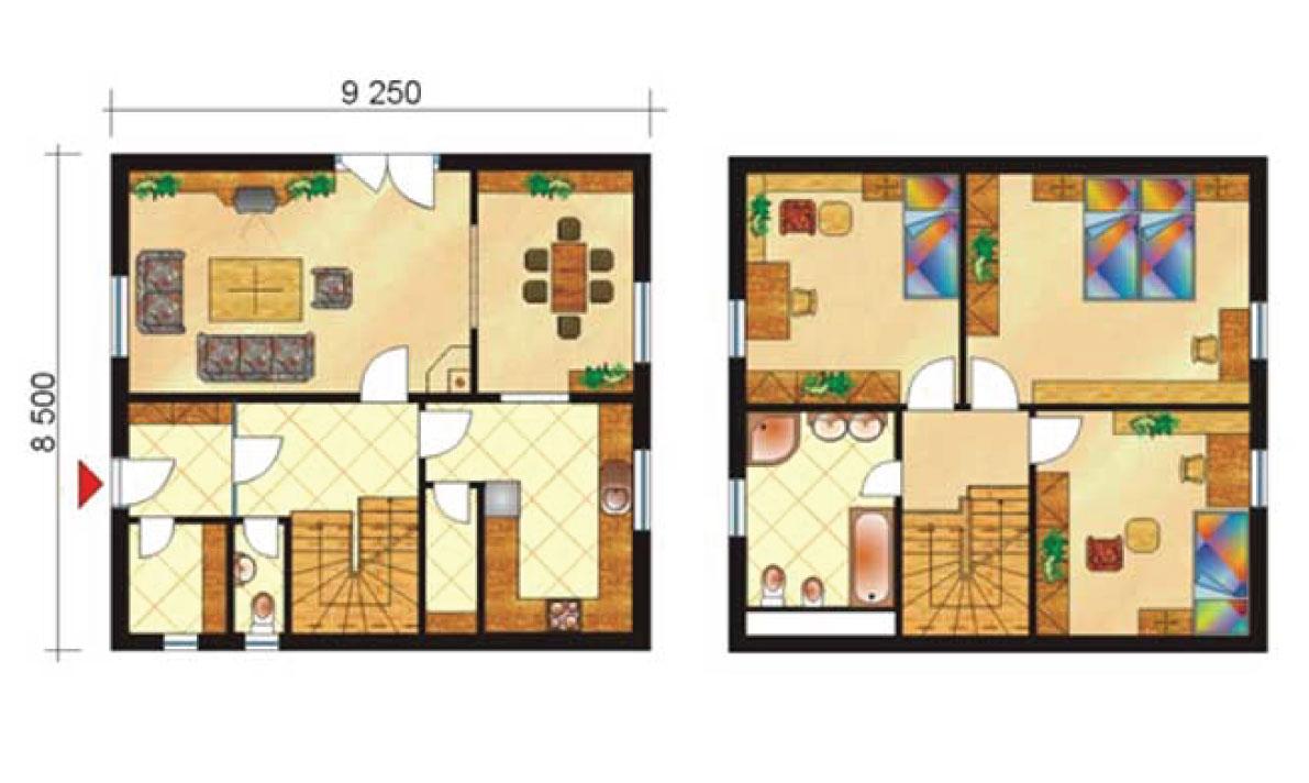 Trojizbový poschodový rodinný dom s jedálňou - č.4-pôdorys