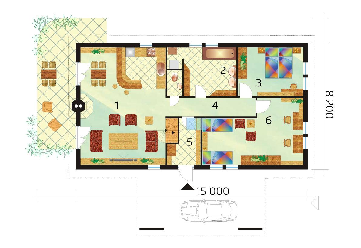 Trojizbový rodinný dom s galériou- č.33-podorys