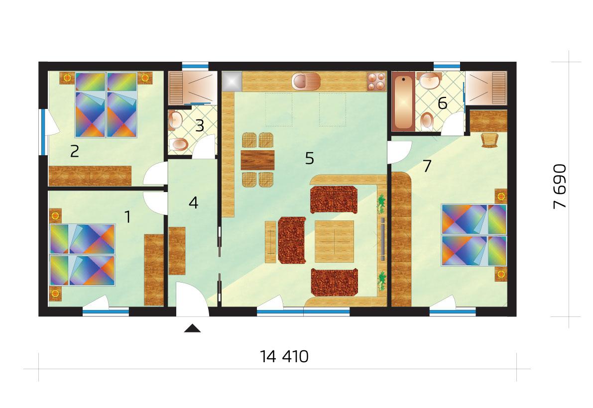 Trojspálňový bungalov s oddelenou spálňou od izieb - č.41-podorys
