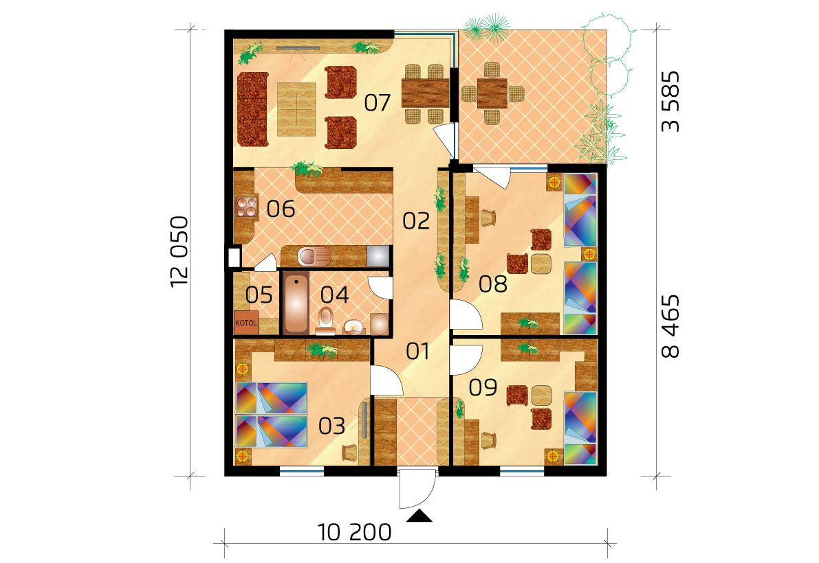 Trojspálňový prízemný dom v tvare L - č.10 -podorys