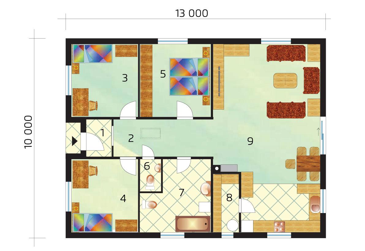 Trojspálňový rodinný dom s veľkou komorou - č.37-pôdorys