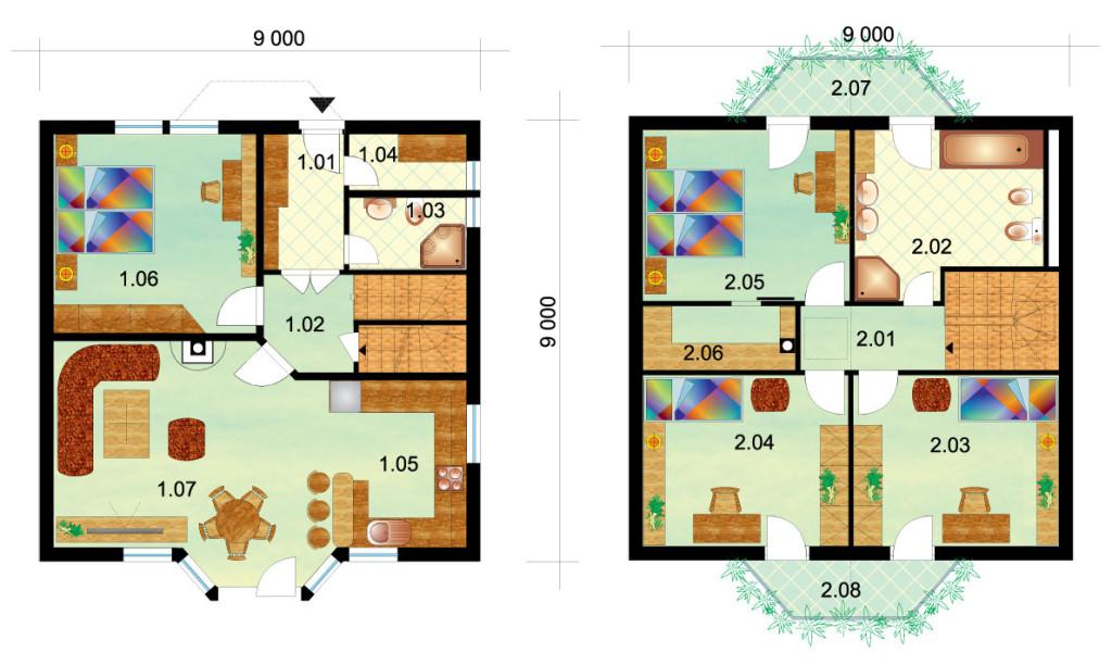 Veľký štvorspálňový poschodový dom – č.2 - podorys