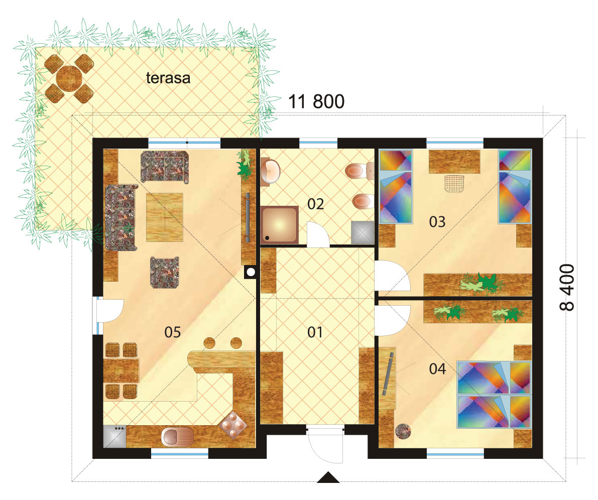 Veľký dvojspálňový bungalov s valbovou strechou – č.11 podorys