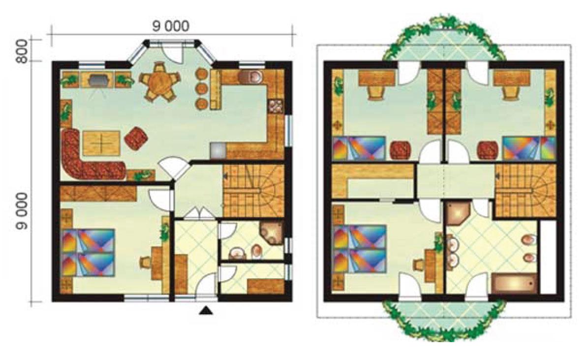 Veľký päť-izbový poschodový dom - č.3-pôdorys