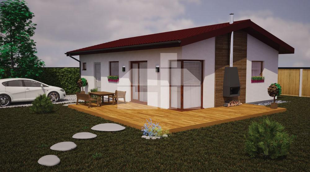 Két hálószobás bungaló kisebb telkekhez - sz.15