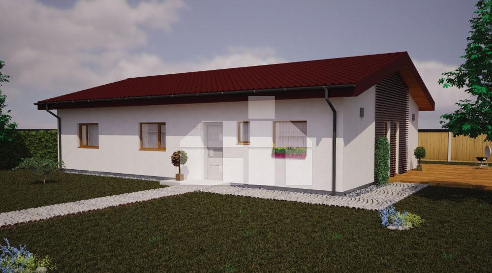 Ötszobás bungaló téglalap alakú alaprajzzal - sz.34