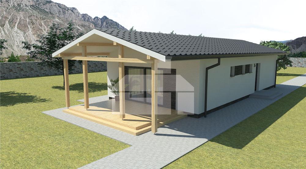 Keskeny, három hálószobás, előregyártott elemekből álló bungaló.- sz.36