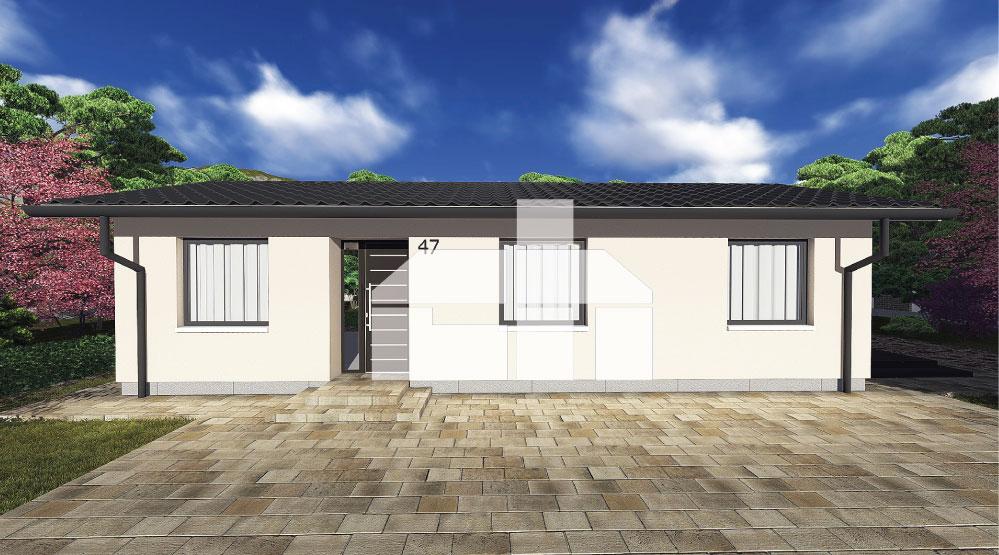 Egy téglalap alakú keskeny háromszobás bungaló terve- sz.47