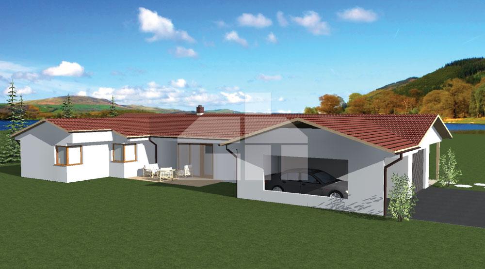 Nagy U alakú bungaló dupla garázzsal - sz.29