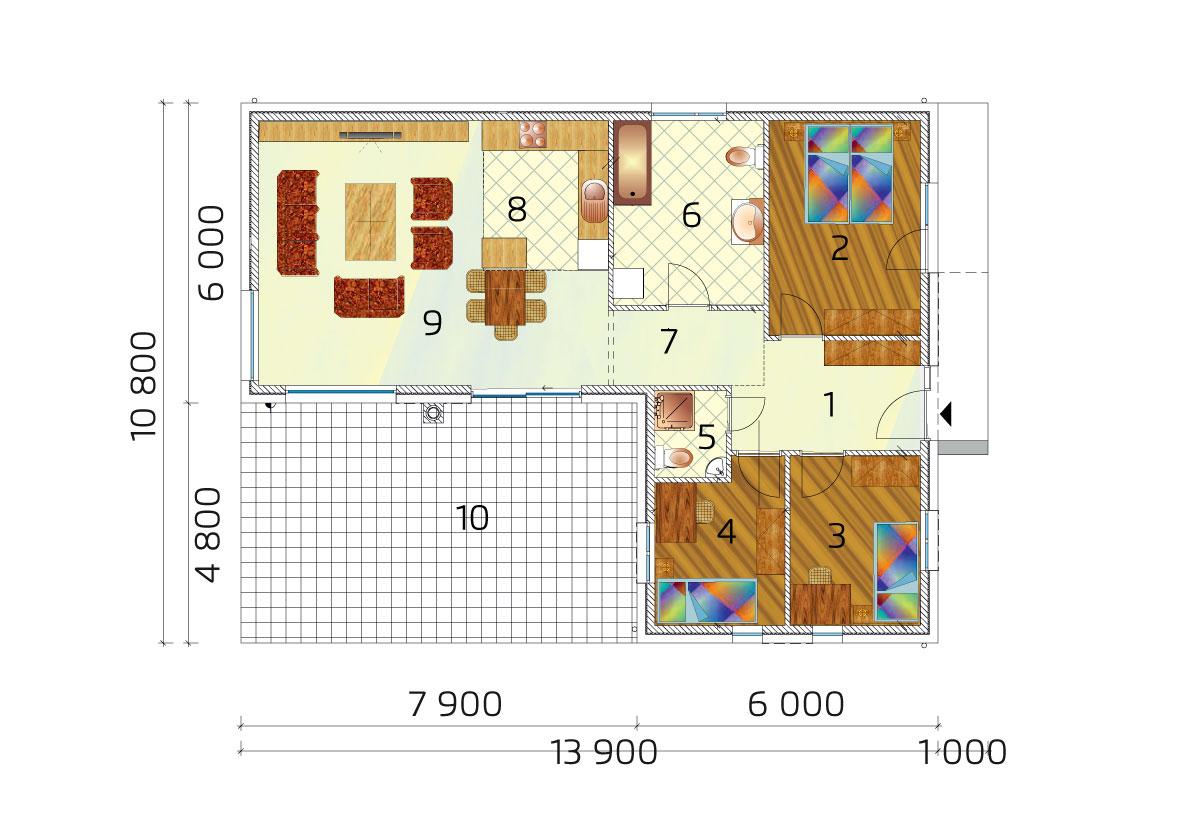 Három hálószobás L- alakú családi ház alaprajza