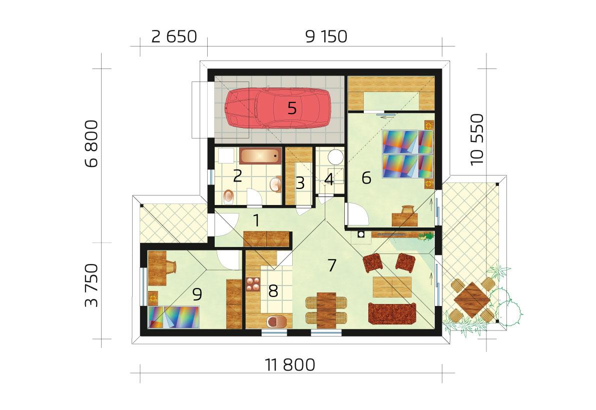 Három hálószobás ház garázzsal - sz.24, alaprajza