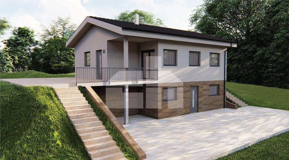 Lejtőre alkalmas háromszobás családi ház - sz.61