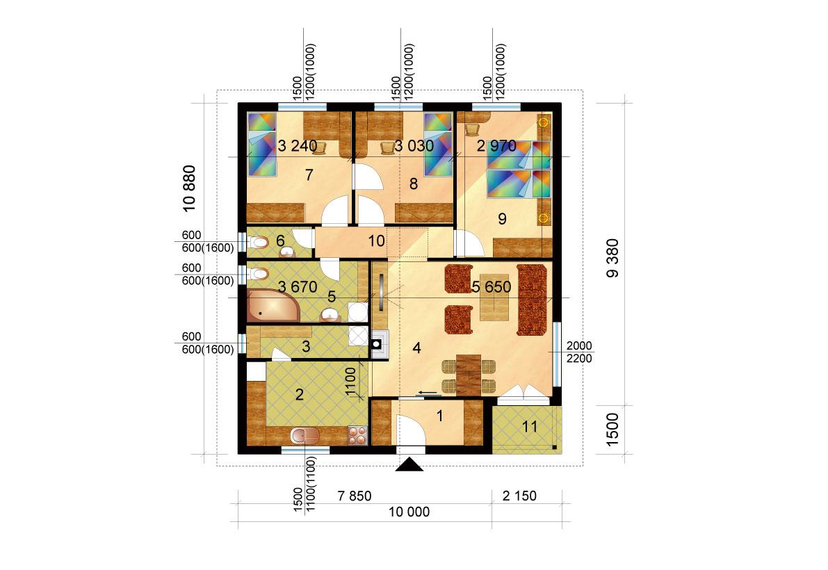 Három hálószobás négyzet alapú ház, raktáron elérhető - sz.32, alaprajza