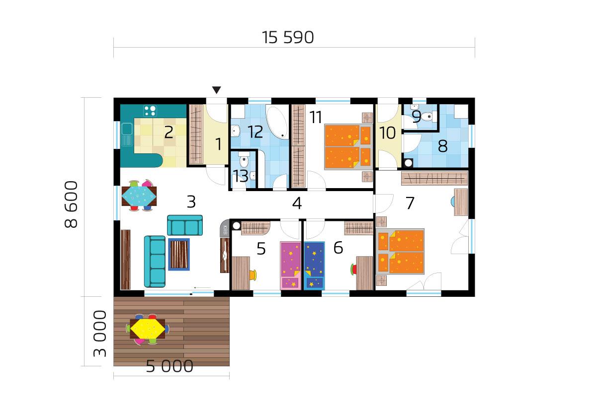 Két generációs bungaló három hálószobával, raktáron elérhető - sz.71, alaprajza
