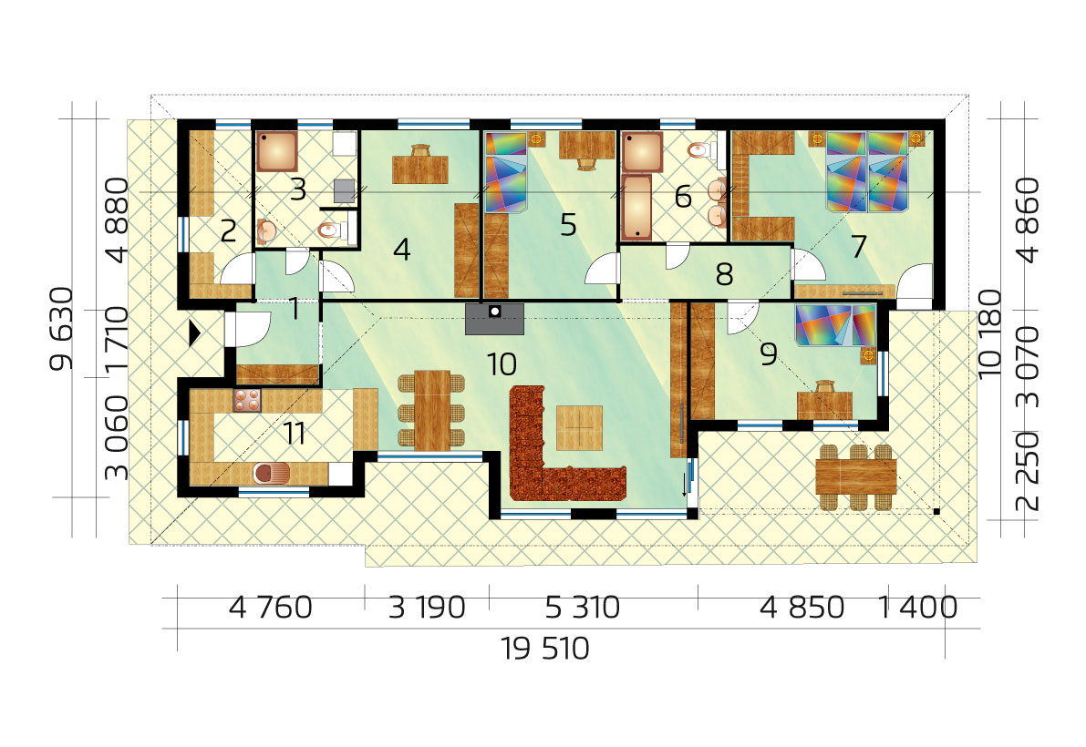 Nagy, három hálószobás ház dolgozószobával - sz.42, alaprajza