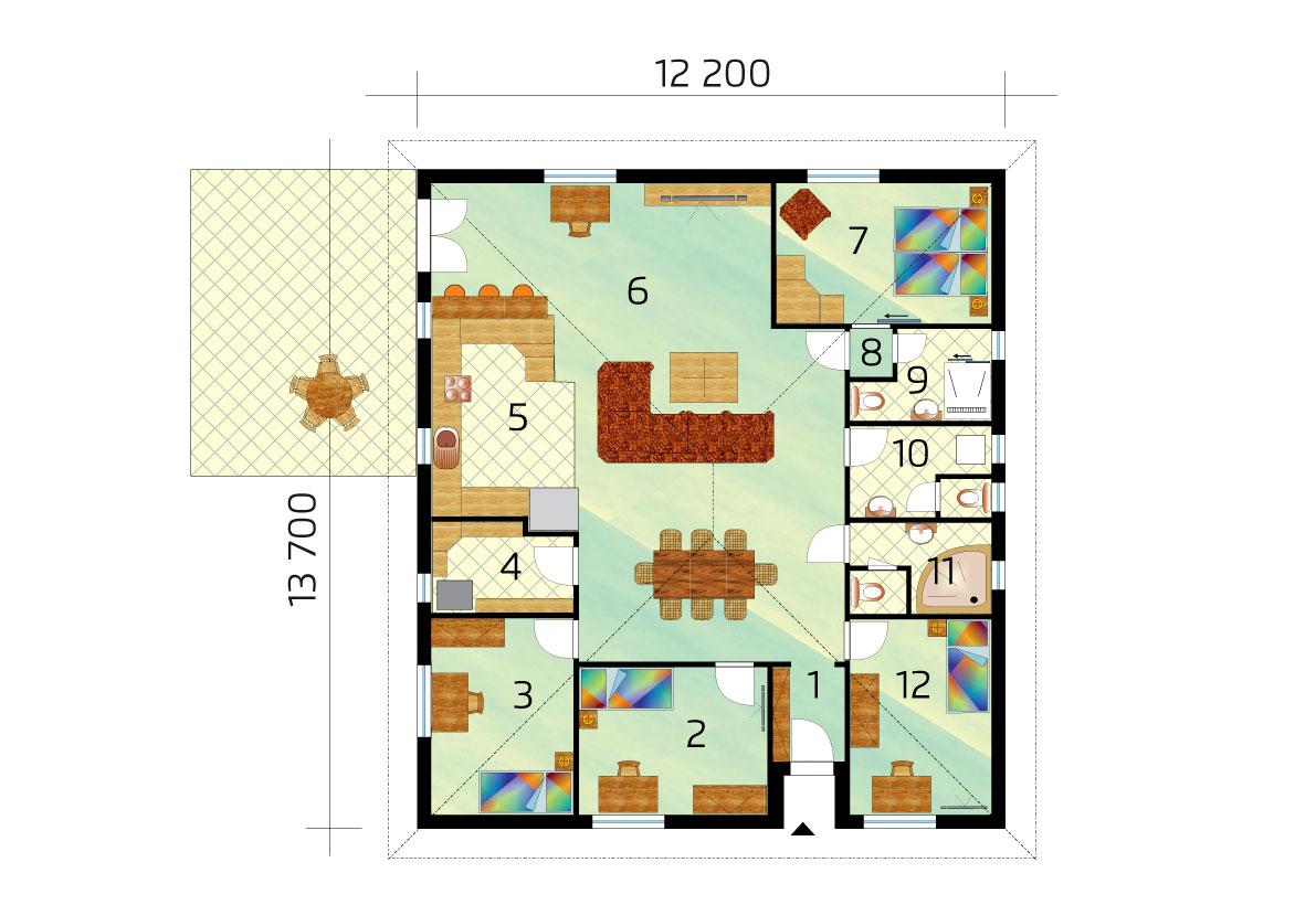 Nagyméretű, 5 szobás bungaló kontyolt tetővel - sz.74, alaprajza