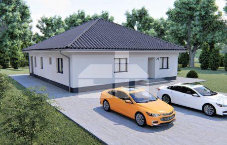 Nagyméretű, 5 szobás bungaló kontyolt tetővel - sz.74
