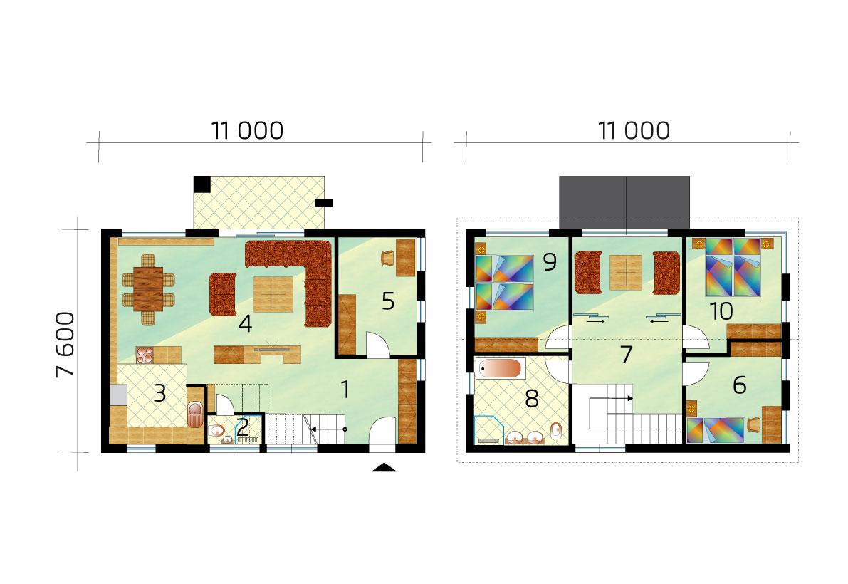 Kétszintes családi ház nyitott nappalival - sz.55, alprajza