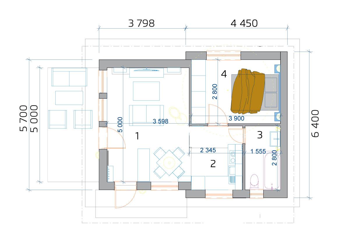 2 szobás moduláris ház, alaprajza