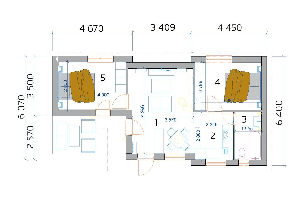 3 szobás moduláris ház, alaprajza