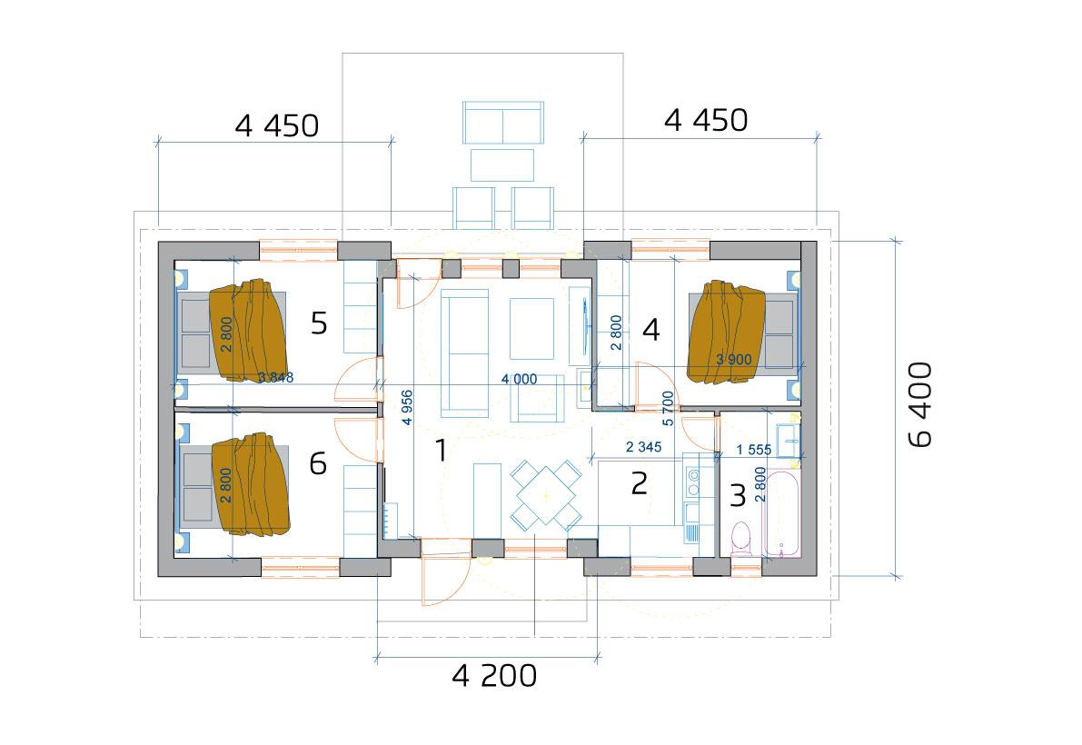 4 szobás moduláris ház, alaprajza